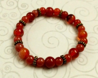 Simple Red Agate Gemstone Stretch Bracelet With Gold-Plated Brass Accents