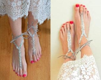 Silver rhinestone barefoot sandals, beach wedding bridal footless sandals, foot jewelry, boho bride, bridesmaid gift, foot jewelry