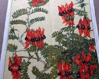 Tea Towel Australian Souvenir 'Sturt's Desert Pea' 100% Czechoslovakian Linen Floral Tea Towel Australian Native Flora