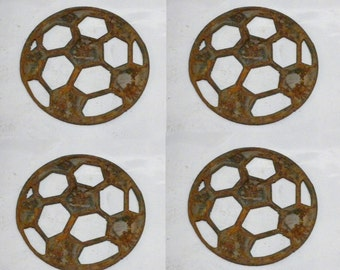 Lot Set of 4 Rusty 4 inch Soccer Ball Shapes Vintage Antique Metal Art Ornament Craft Stencil Sign