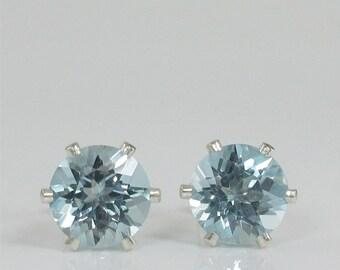 Sky Blue Topaz 7mm 2.95ctw Sterling Silver Stud Earrings