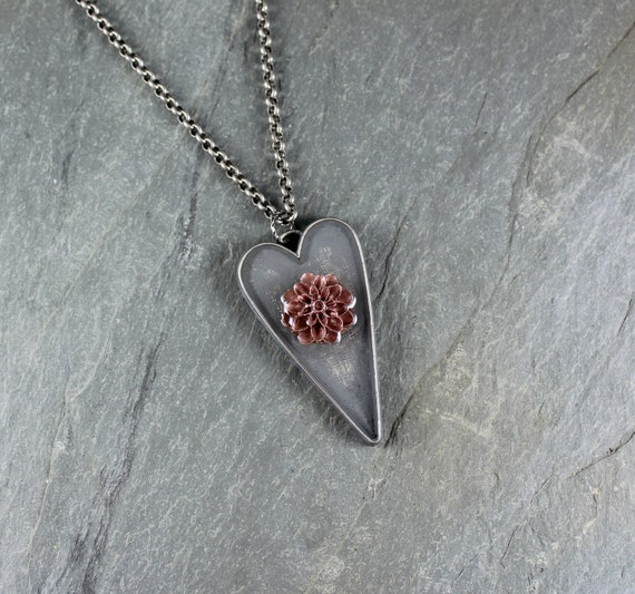 Let Your Heart Bloom ~ Rustic Romantic  ~ Heart pendant necklace