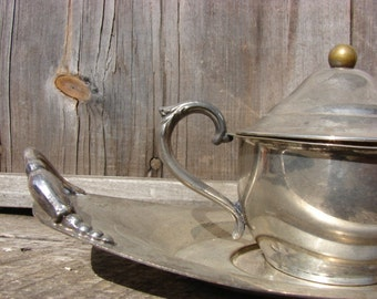 Antique Silver Plated Covered Bowl and Tray