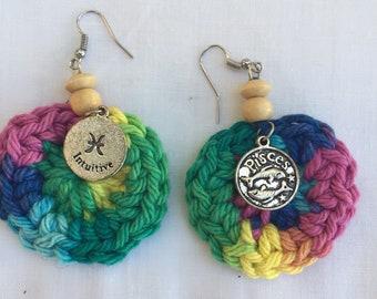 Multi Color Pisces Zodiac Earrings
