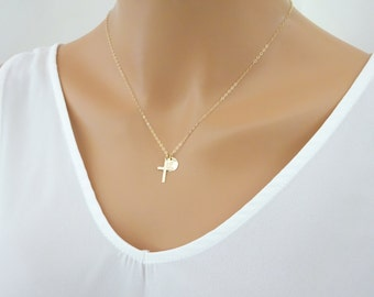 Personalized cross necklace, Initial Gold fill Necklace, Baptism necklace, Baby Christening jewelery, First communion necklace