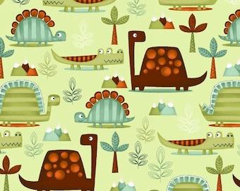 Dino Riffic Dinosaur Fabric Prehistoric Dinos in Forest Jungle on Green by StudioE- One yard
