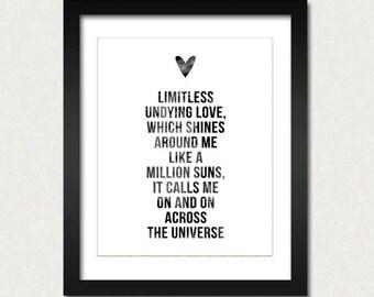 Across the Universe Modern Home Decor Print Beatles Inspired John Lennon Quotes Black and White Prints Minimalist Art SALE buy 2 get 3