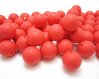 15mm - Lot of 10 Coral Red Loose Silicone Beads