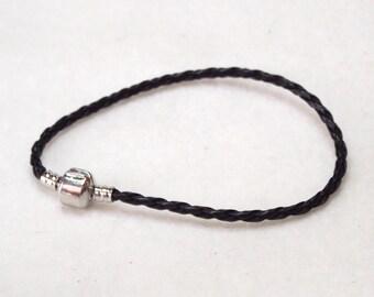 "20cm (8"") Braided Leather European Charm Bracelet in Black"