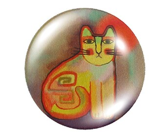 1 cabochon 30mm round yellow glass cat