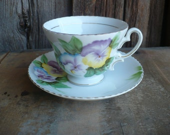 Vintage Tea Cup and Saucer, Merit China Tea Cup, Hand Painted Pansy Tea Set