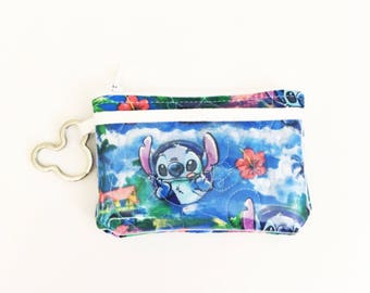 Keychain ID Wallet - Tropical Stitch / card holder / cute mini wallet / business card case / Lilo and Stitch / Card Wallet / small wallet