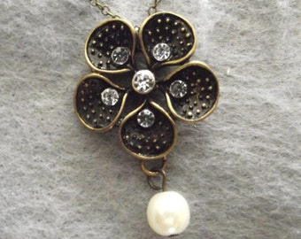 Antique Gold Brass Flower Pendant on a Chain Necklace