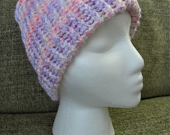 Super Soft Knit Shimmery Pink, White, and Purple Knit Hat
