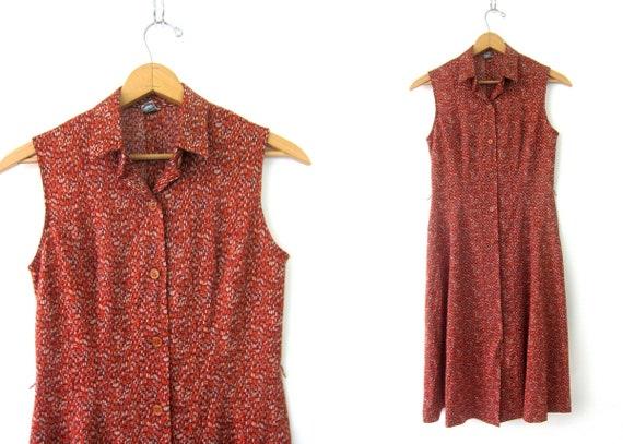 Vintage 1970s Dress Sleeveless House Day Dress Midi Button Up Poly Knit Retro Dress Blue Orange Brown Sundress Womens Medium
