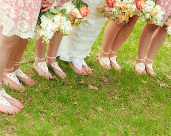 Bridesmaid Package barefoot sandals, Bohemian wedding Crochet Barefoot sandals, Lace shoes, Bridesmaids Gifts idea, Bridal Party Package