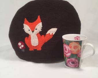 Tea Cozy made from Felted Wool, Orange Fox, Chocolate Brown Woo, Handmade, Upcycled