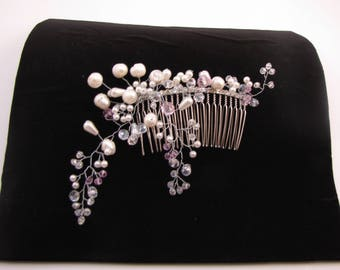 NEW - Bridal Silver Comb with Swarovski Crystals Beads / Freshwater Pearls