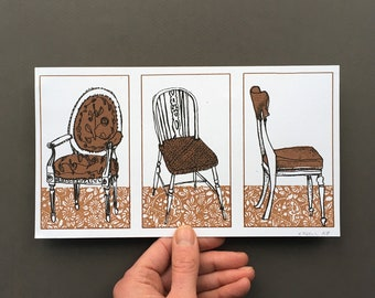 Three Chairs - Original Screenprint