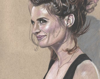 Drawing Print of Stana Katic Colored Pencil Sketch