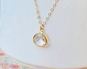 Small Crystal Pendant Necklace