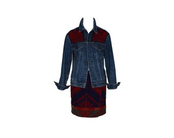 Vintage Ralph Lauren Country Native American Inspired Wool Skirt and Levis Jean Jacket Ensemble 1990s