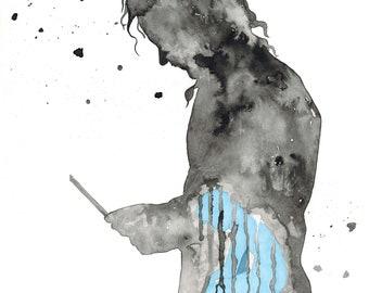 "Original Watercolor ""Dorian Gray"" 32, 5x25 cm."