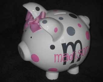Initial Plus Name - Personalized Piggy Bank