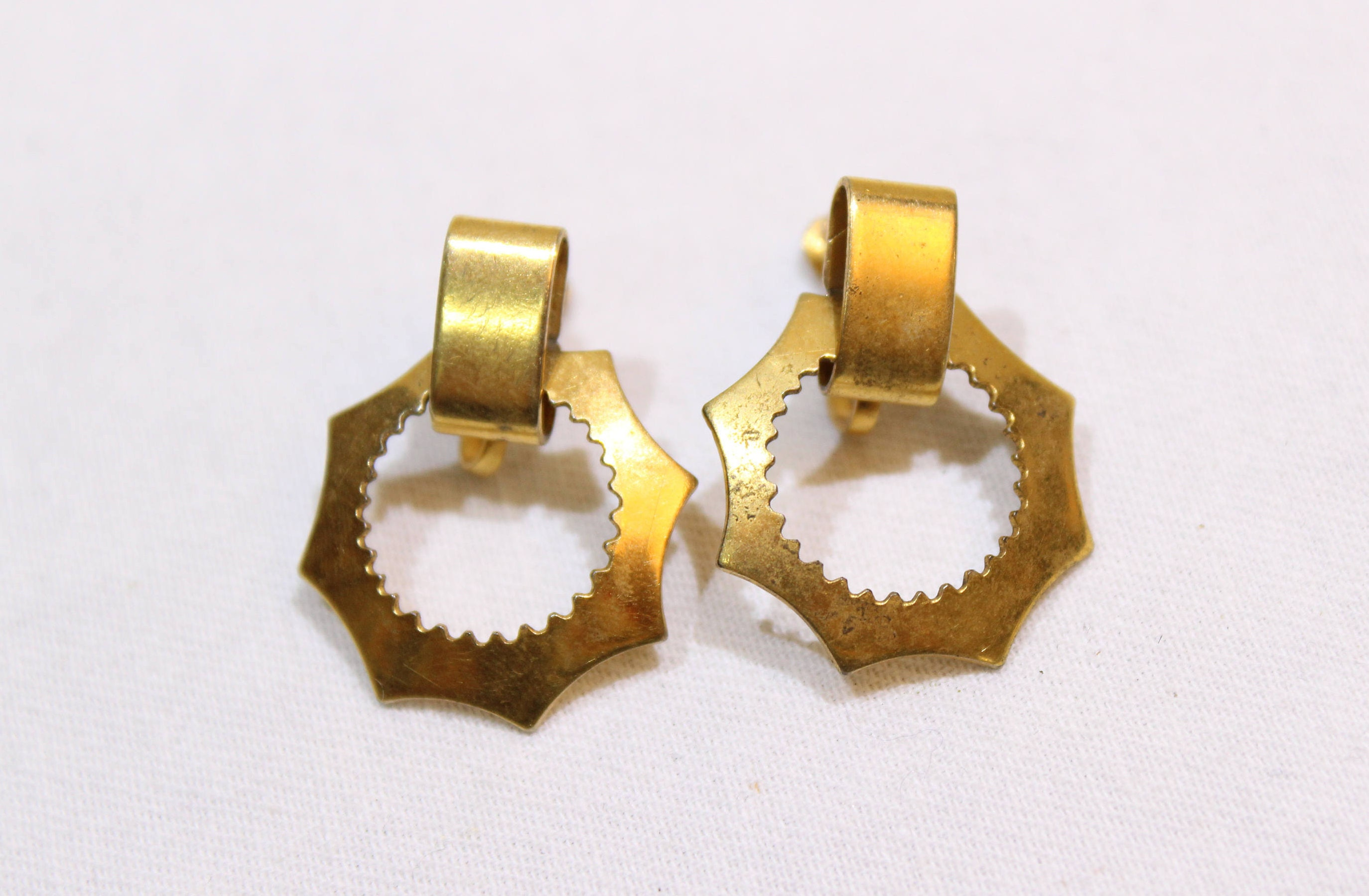 earrings gold century mid yellow in vintage product stud