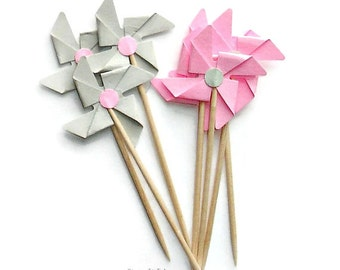 12 Mixed Pink & Grey Pinwheel Cupcake Toppers, Food Picks-or Choose Your Colors - Set of 12 pcs