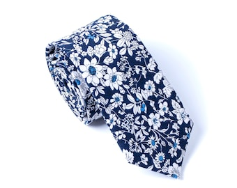 Mens Ties Navy, Floral Skinny Tie, Wedding Ties Navy, Floral Ties Navy, Ties For Boy, Ties For Groomsmen, Ties For Dad, Mens Slim Neckties