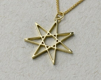 Solid Gold Seven Pointed Star necklace - Available in 14k/18k Gold and Platinum.