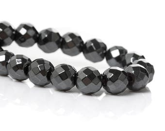 Set of 10 beads Hematite GUNMETAL 6mm faceted round