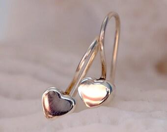 Gift coworker jewelry, gift for girlfriend ideas, gift for boho wife, tiny dainty earrings, delicate earrings Sterling Silver Hearts Earring