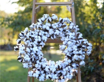 "Large Cotton Wreath 26"" Cotton Boll Wreath Cotton Wreath Faux Cotton Wreath Rustic Wedding Decor Farmhouse Cotton"