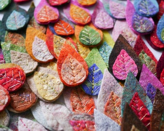 5pc-Set of 5 felted patches-wool-hand felted leaves