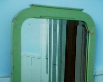 Antique Wood Shabby Chic Rustic Cottage Mirror Pale Green From New Orleans