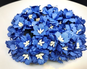 50 pcs. royal blue Cherry Blossoms Flower Mulberry Paper Craft Supplies #176