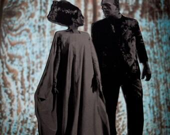 Bride of Frankenstein and Frankenstein's Monster, Display Art , Halloween, Samhain Cake Topper, Table Decorations