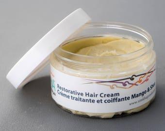 Mango-Shea coconut restaurative Hair Butter Cream - Castor olive Oil Damaged Nappy - Natural Hair Cream / Moisturizer / Conditioner Shea 4oz