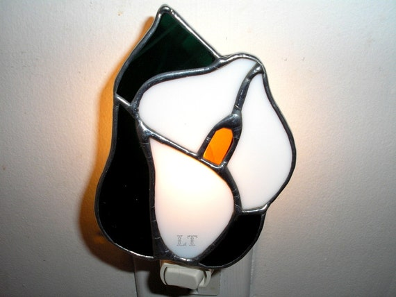 Calla Lily Stained Glass Night Light by Lyn Tignor