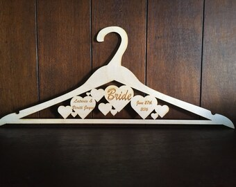 Wedding wooden hanger, wedding gift, keepsake, bridesmaids gift, special occasion, gift under Usd 15,