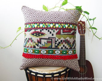 Boho Pillow - Brown and Red Throw Pillow Cushion Cover with Geometrical Pattern