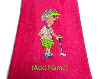 golf towel, golf gift for her, mom golf towel, grandma golf gift, embroidered towel, customize hair, personalize golf, funny golf towel