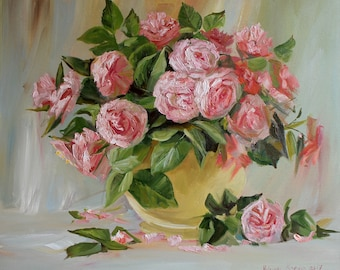 Still life oil rose Art bouquet pink roses Original Oil painting picture Home decor painting picture Wall art flower Gift paiting for woman