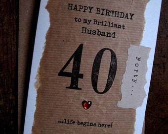 Husband 30th card etsy designer husband 30th 40th 50th 60th 70th personalised birthday card hand stamped simple unusual design bookmarktalkfo Image collections