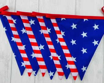 Stars and Stripes Bunting, USA Bunting, American Flag Bunting, Red, White & Blue, United States Bunting,  Photo Prop, Eco Friendly, Reusable