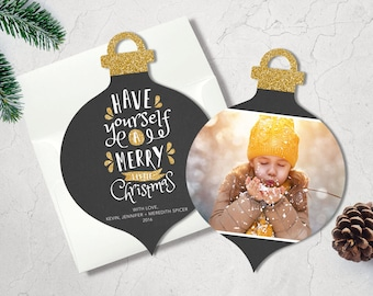 Christmas Photo Card | Holiday Card | Merry Christmas Card | Holiday Greeting Card | Ornament Die-Cut Card | Photo Card | Gleeful Glitter