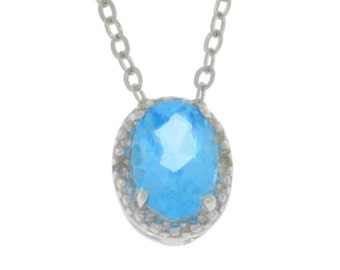 1 Ct Blue Topaz & Diamond Oval Pendant .925 Sterling Silver
