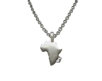 Africa Map Shape Pendant Necklace